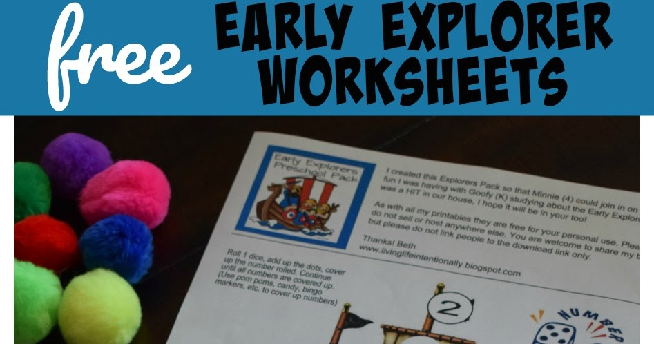 Free Early Explorers Worksheets