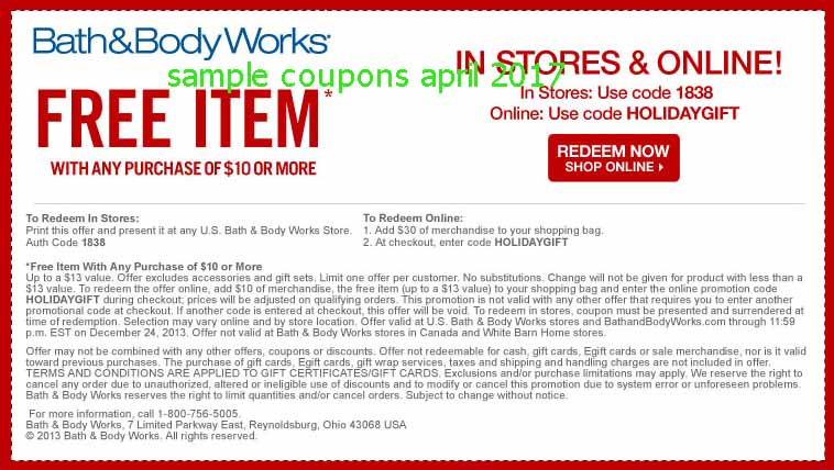 Bath and body works printable coupons march 2018
