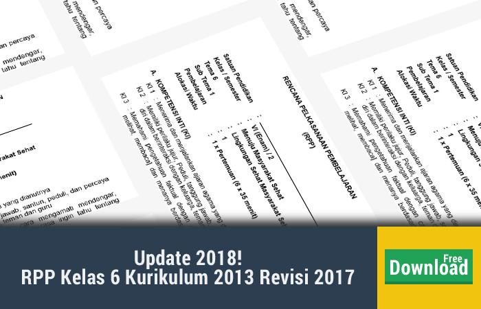 rpp kelas 6 kurikulum 2013 revisi 2017