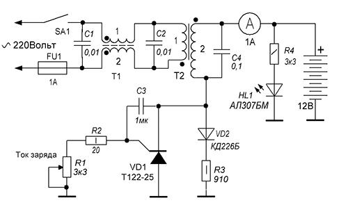 Простое зарядное устройство схема 251
