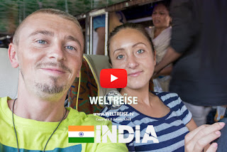 World travel in india. From Agra to New Delhi by bus. Arkadij and Katja travel the world.