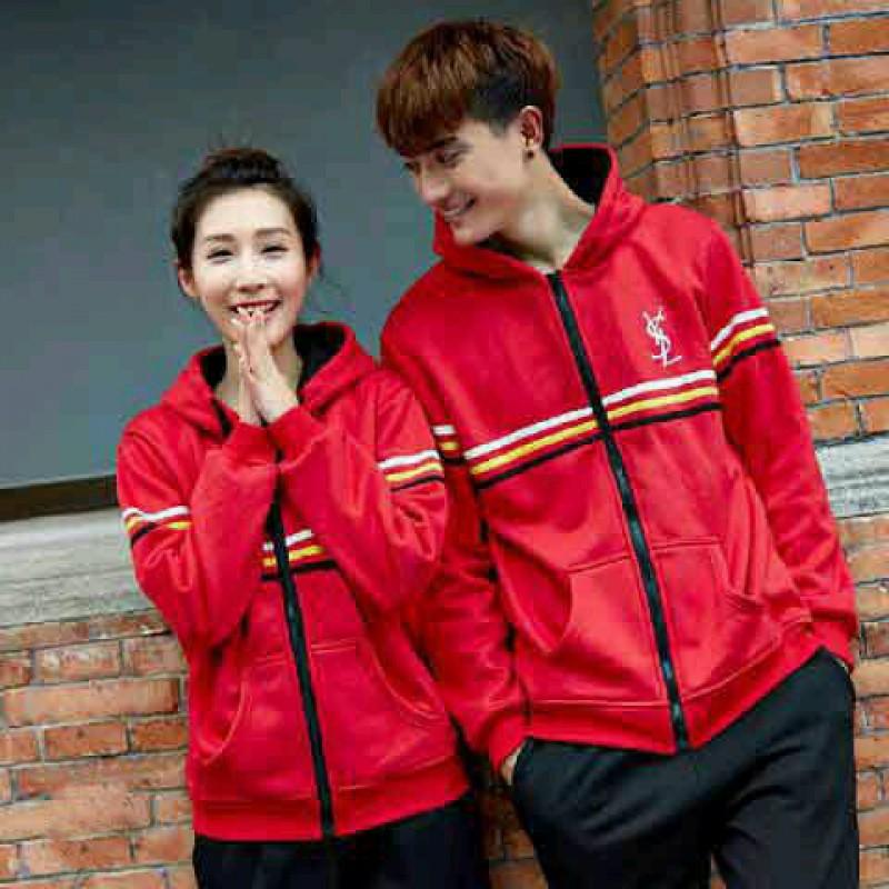 Jual Online Jacket Sport YSL Merah Couple Murah Jakarta Bahan Babytery Terbaru
