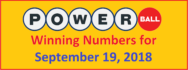 PowerBall Winning Numbers for Wednesday, 19 September 2018