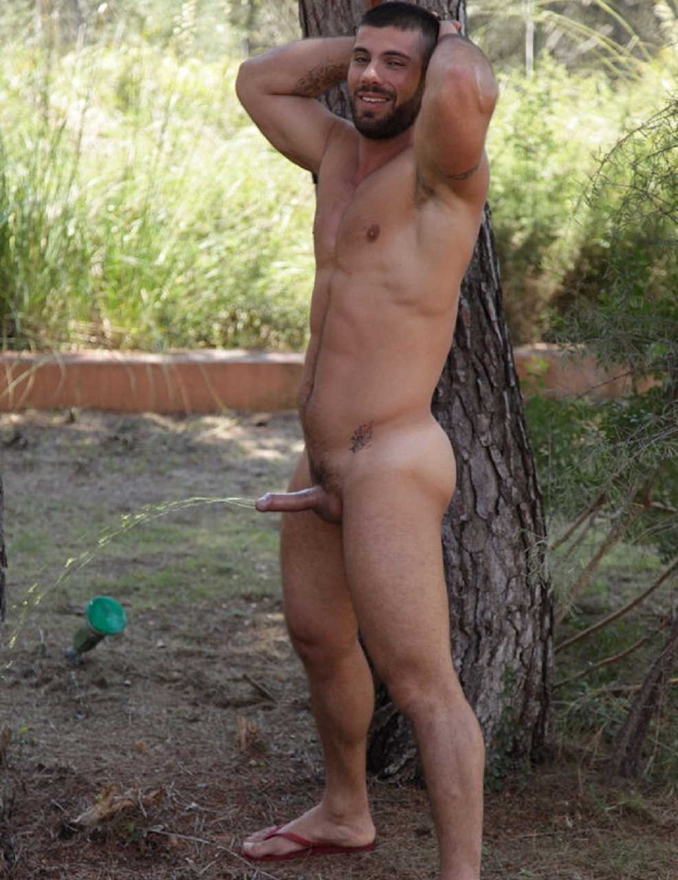 Male outdoor piss party and pissing men