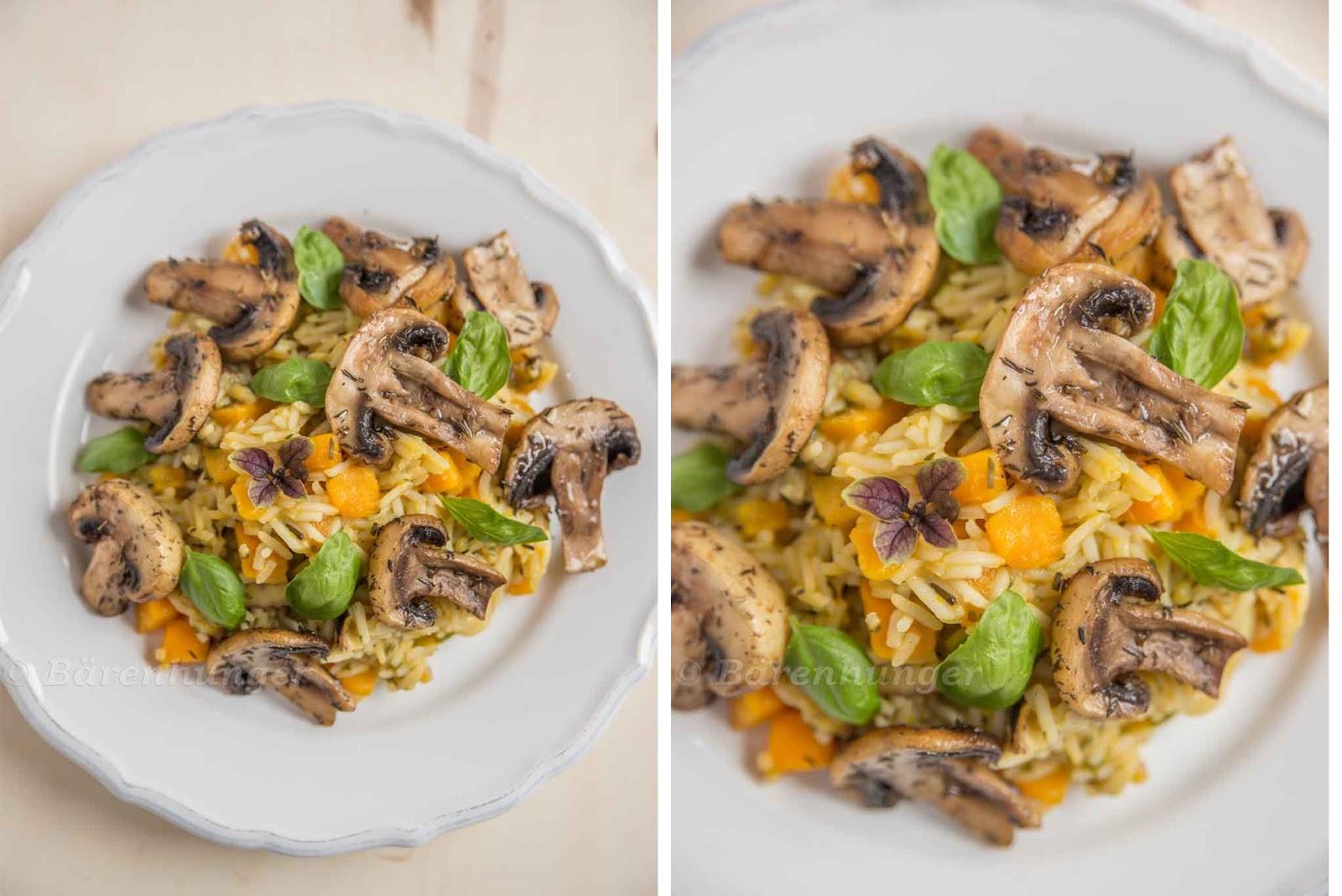 herbstliches risotto mit k rbis pilzen und maroni b renhunger. Black Bedroom Furniture Sets. Home Design Ideas
