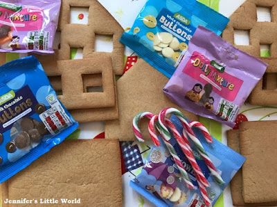 Gingerbread house pieces ready to assemble