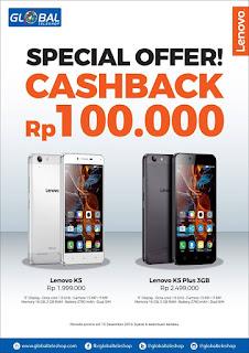 Global Teleshop Special Offer Cashback Rp 100.000 Lenovo Promo Hingga 15 Desember 2016