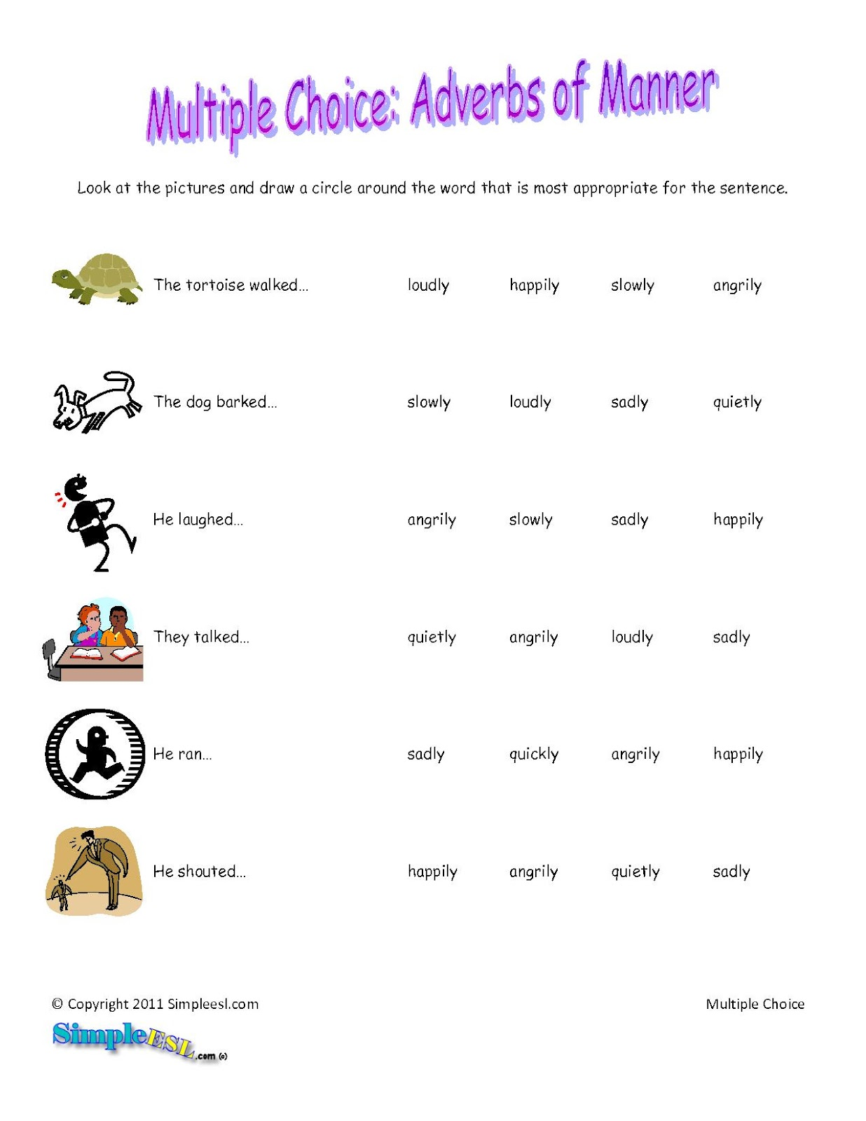 medium resolution of Circle The Adverbs Worksheet   Printable Worksheets and Activities for  Teachers