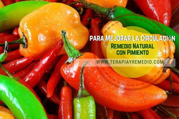 Remedio natural para mejorar la circulación con pimiento, rico en potasio, vitamina a y c.