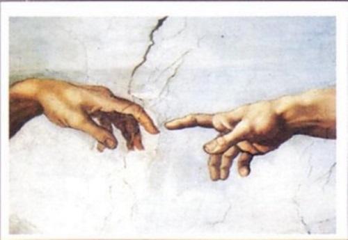 Mão de Deus tocando a do homem.