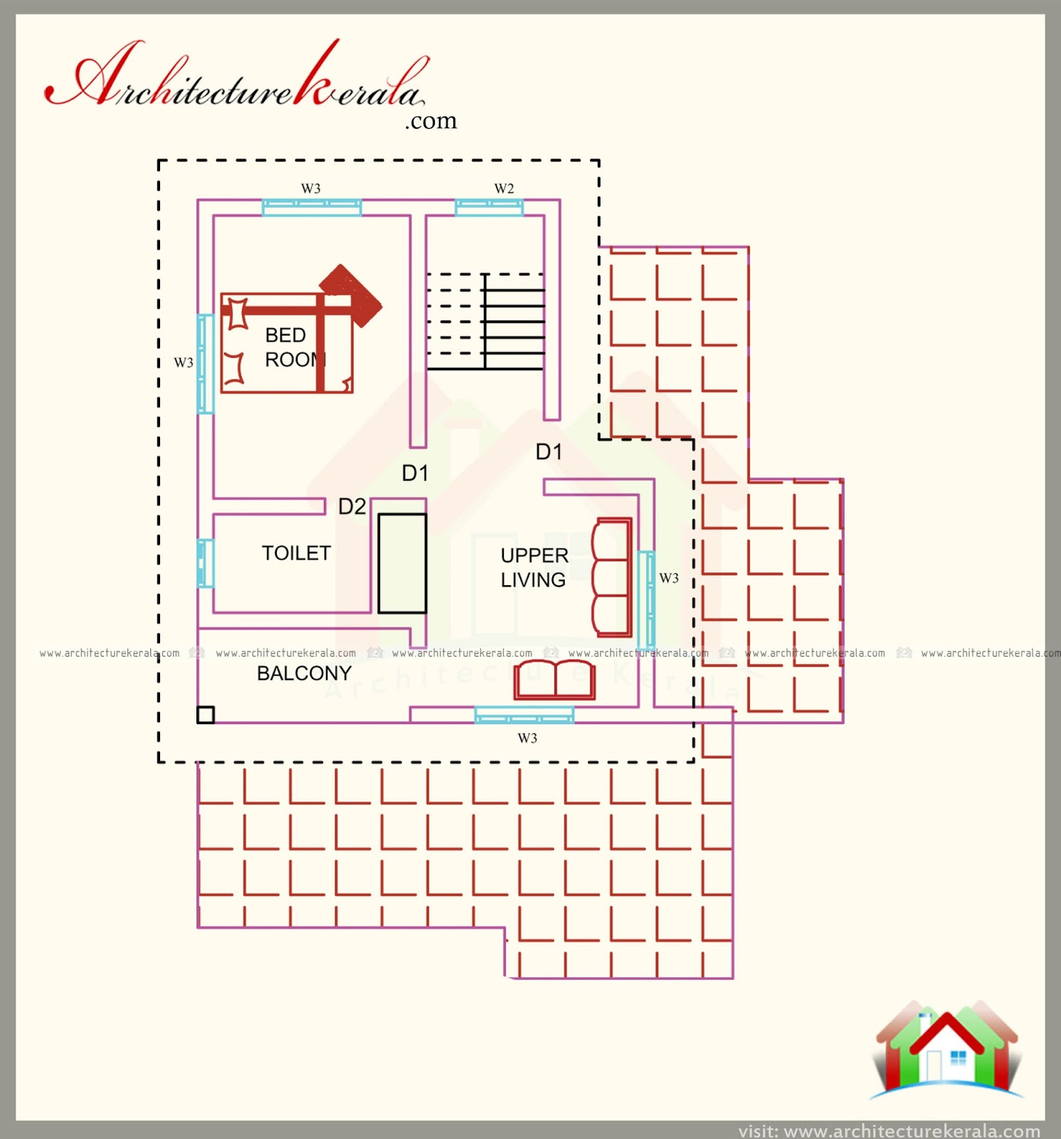 1500 square feet house plan with beautiful combine style for Kerala house plans 1500 sq ft
