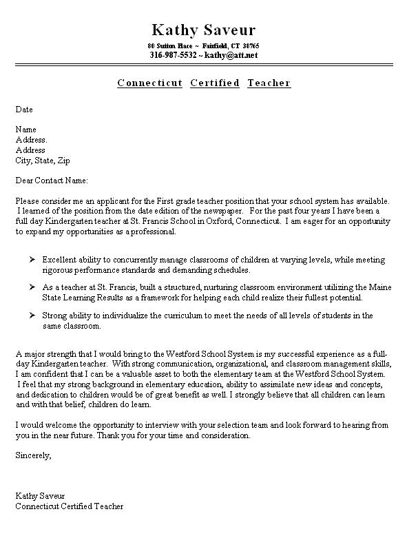 cover letter template teaching position