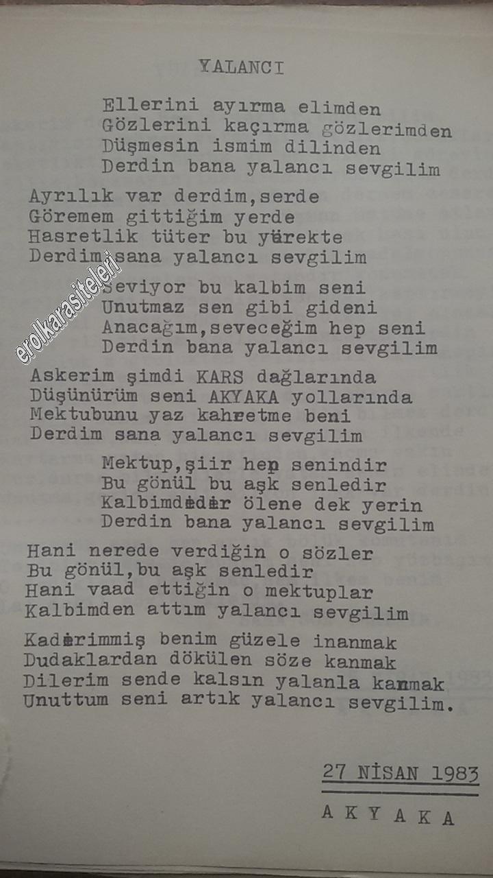 Nostaljik Asker Şiirleri - Yalancı