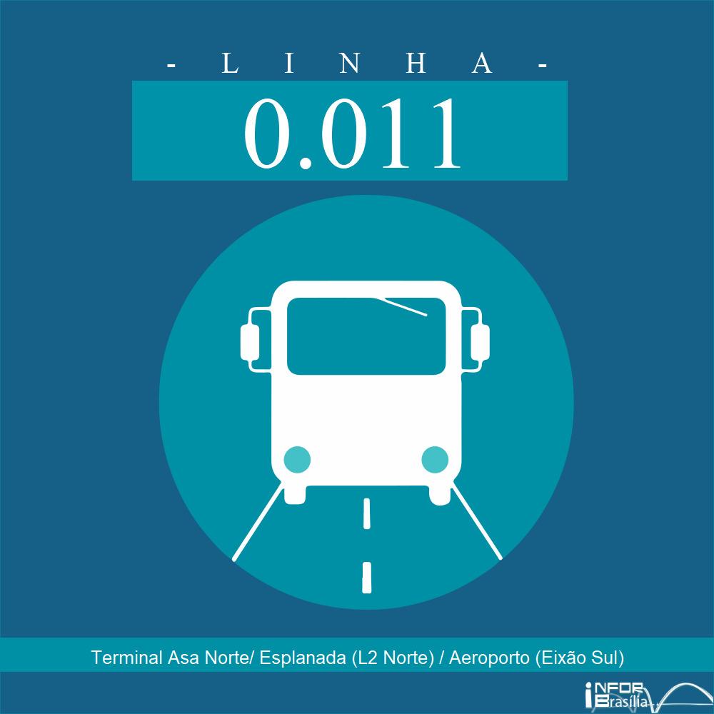Horário de ônibus e itinerário 0.011 - Terminal Asa Norte/ Esplanada (L2 Norte) / Aeroporto (Eixão Sul)