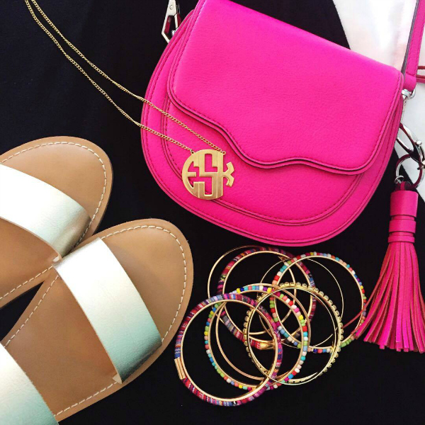 monogram necklace, summer style
