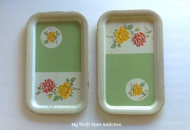 thrifted vintage serving trays