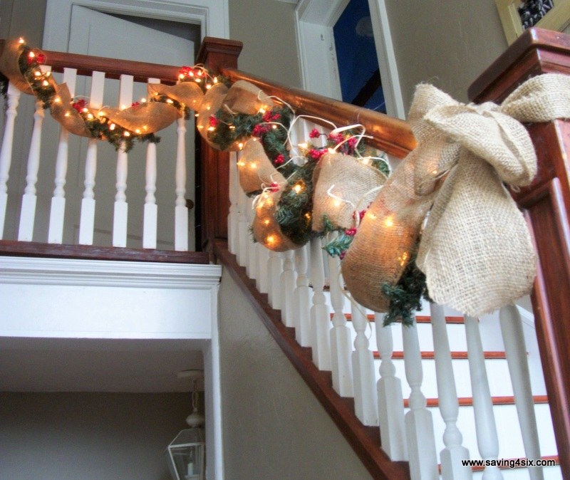 Burlap Staircase Garland Dresses Up the Stairs