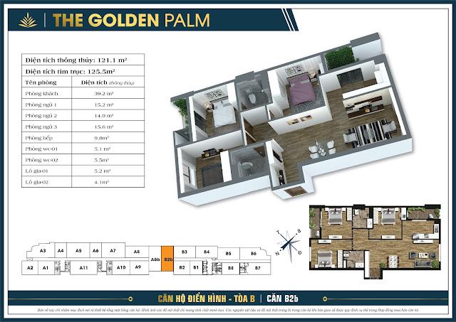 Thiết kế căn B2b, 121m, tòa B - The Golden Palm