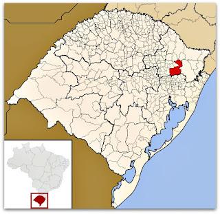 Mapa do Rio Grande do Sul, identificando a cidade de Caxias do Sul.