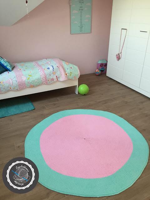 Kolejny dywan róż-mięta / Another one a crochet rug (pink&mint)