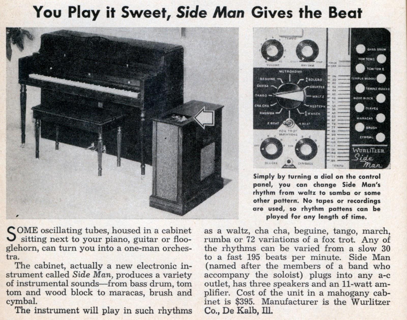 Teclado electrico con caja de ritmos de 1970.