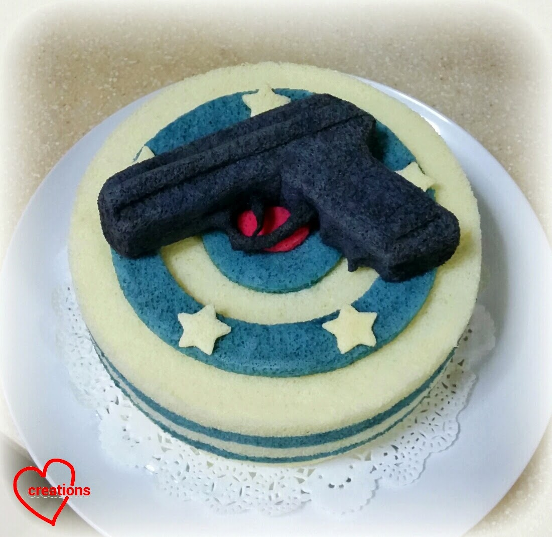 This Is A Police Gun Chiffon Cake With Navy Stripes That I Made For Dear Friends Hubby Who Policeman Think The Very Noble Profession