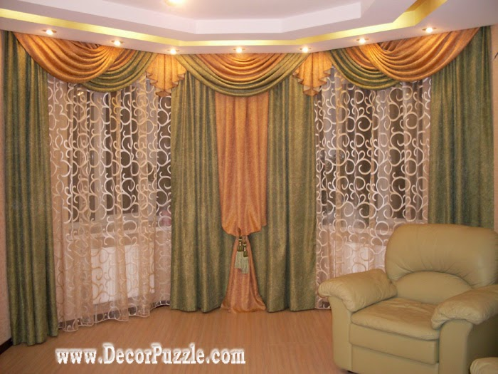french curtain style for living room window, green and orange curtains 2018
