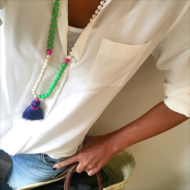 my midlife fashion, the white company silk shirt, zara distressed cigarette jeans, tlm edit neon tassel necklace, initially london Covent garden medium basket