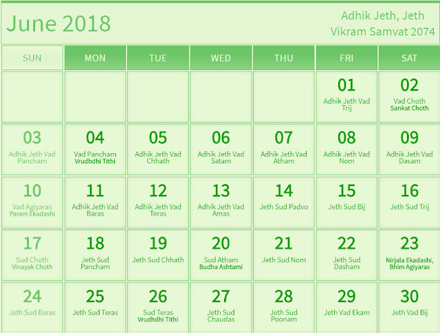 June 2018 Hindu Calendar with Tithi