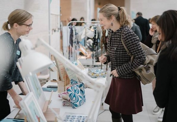 Hereditary Grand Duchess Stéphanie visited the Creators' Market (Marché des créateurs). jewellery, textile design