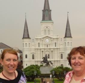 Bridget Eileen and mom in Jackson Square New Orleans with St Louis Cathedral in Background