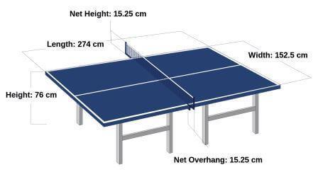 lapangan tenis meja terbuat dari kayu yang tebalnya