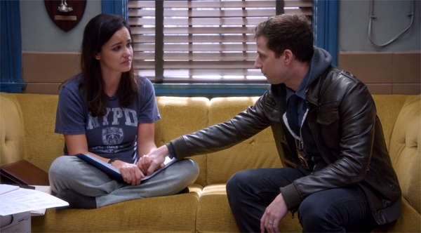 image of Melissa Fumero and Andy Samberg as Amy and Jake on Brooklyn Nine-Nine