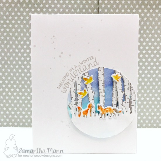 Winter card with fox and birch trees by Samantha Mann | Serene Silhouettes stamp set by Newton's Nook Designs #newtonsnook