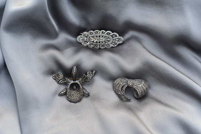 marcasite brooches silk charmeuse