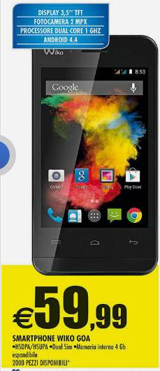 Smartphone dual sim Android Kitkat in offerta da Auchan