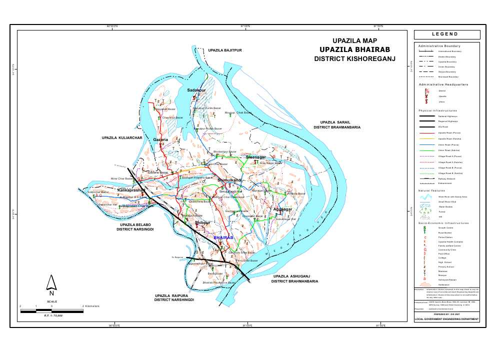 Bhairab Upazila Map Kishoreganj District Bangladesh