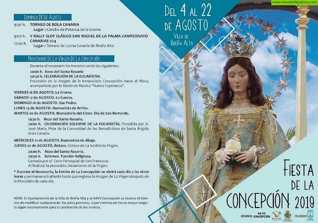 Programa de La Fiesta de La Concepción 2019 en Breña Alta