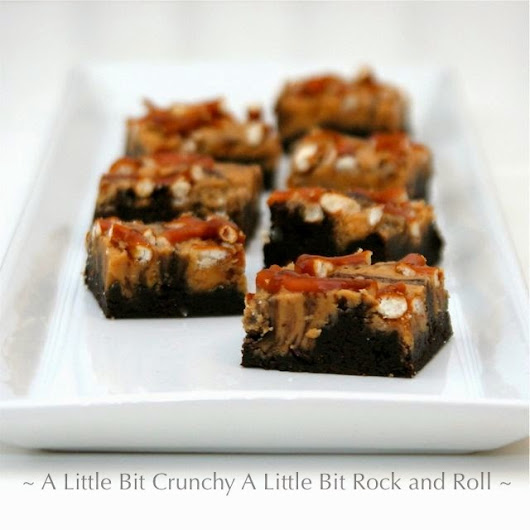 A Little Bit Crunchy A Little Bit Rock and Roll: Peanut Butter Chocolate Pretzel-Topped Brownies