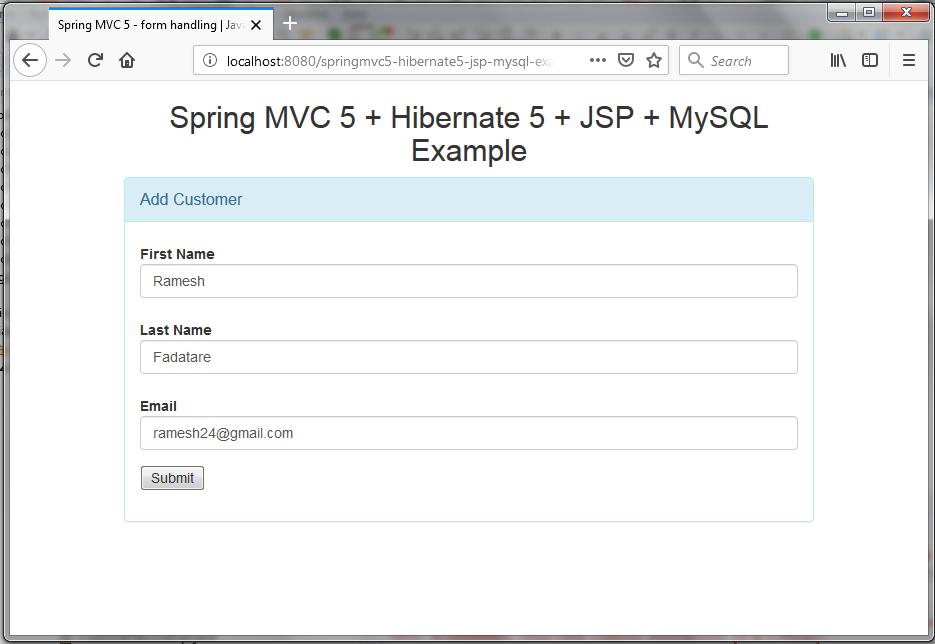 Spring MVC 5 + Hibernate 5 + JSP + MySQL CRUD Tutorial