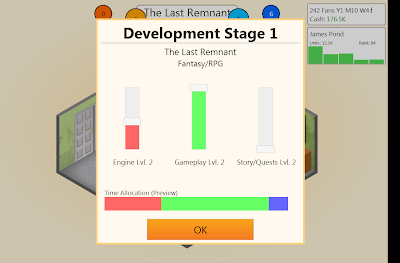 The game creation page on Game Dev Tycoon
