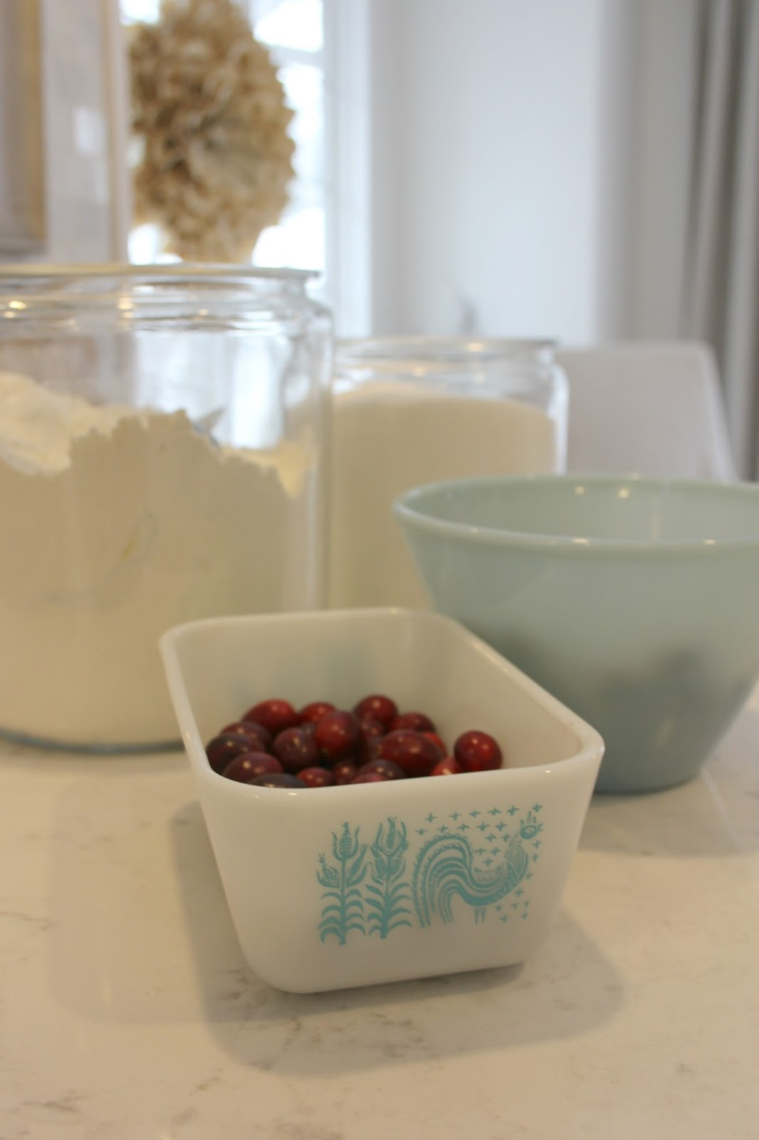 Vintage pyrex dishes holiday baking cranberries - Hello Lovely Studio