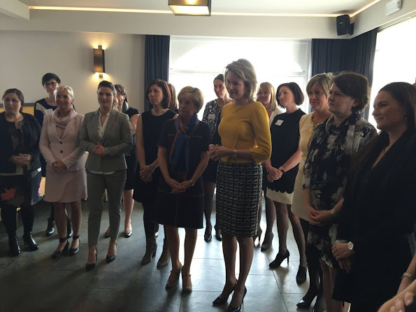 "Queen Mathilde of Belgium attended a lunch organized by ""Markant"" which is the enterprise network of all women at Herbert Robbrecht Restaurant."
