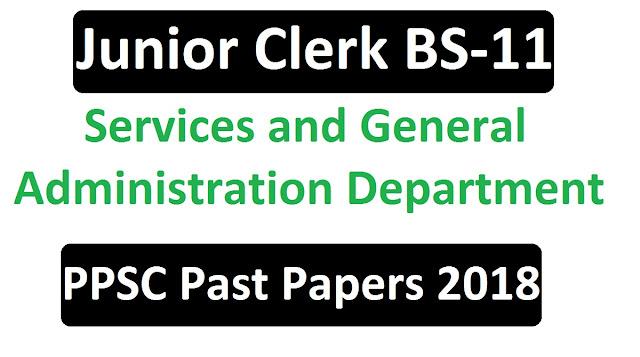 past paper of Junior Clerk S&GAD