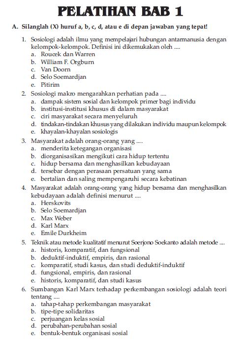 Soal Sosiologi Kelas 10 Bab 1 Guru Galeri