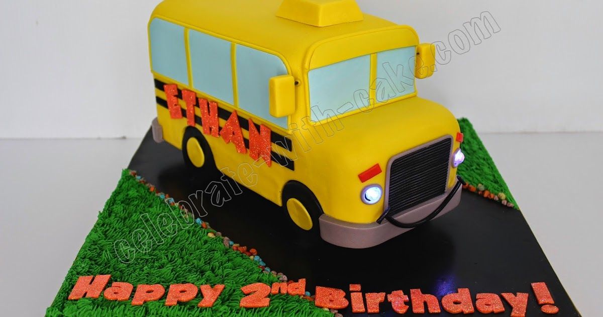 Celebrate With Cake Yellow School Bus