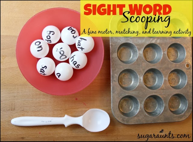 Sight Word Scooping Activity to learn, match sight words with ping pong balls. By Sugar Aunts.