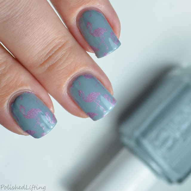pink holographic flamingo nail art