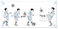 Teknik menghentikan bola dengan kaki kura-kura atau punggung kaki