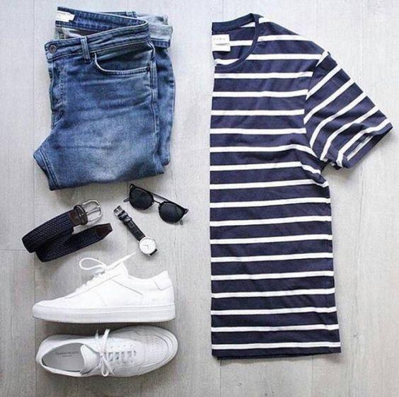 Look masculino com Camisa Listrada